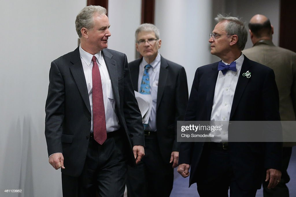 Rep. <a gi-track='captionPersonalityLinkClicked' href=/galleries/search?phrase=Chris+Van+Hollen&family=editorial&specificpeople=3964585 ng-click='$event.stopPropagation()'>Chris Van Hollen</a> (D-MD) (L) and Rep. Earl Blumenauer (D-OR) arrive for the first House Democratic caucus meeting of the 114th Congress in the U.S. Capitol Visitors Center January 7, 2015 in Washington, DC. With Republicans in control of both the House of Representatives and the Senate, House Democrats will be working with Senate Minority Leader Harry Reid (D-NV) to oppose legislation to approve the Keystone XL Pipeline and other GOP agenda items.