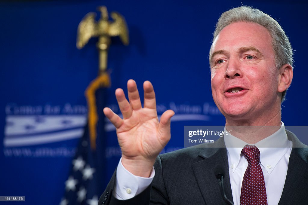 Rep. Chris Van Hollen, D-Md., delivers a speech at the Center For American Progress on middle-class wages, January 12, 2015.