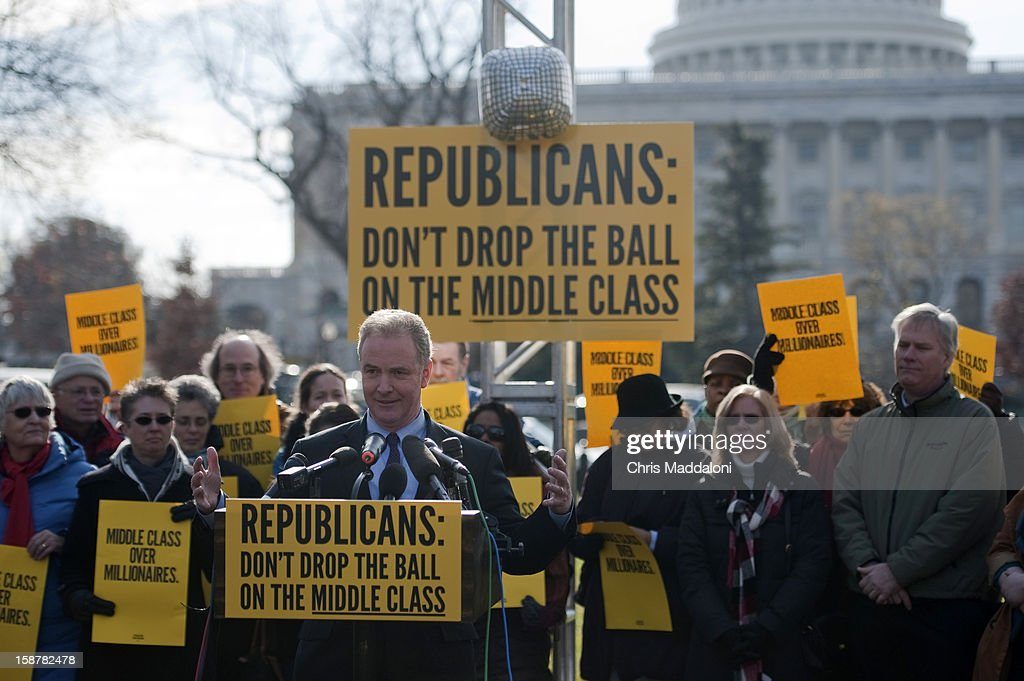 Rep. Chris Van Hollen, D-Md., speaks at 'The Action' rally urging the Republicans in Congress 'not to drop the ball on the middle class, and give massive tax breaks to the richest Americans as the New Year and the impending $2,000 tax hike on middle-class families approaches.'