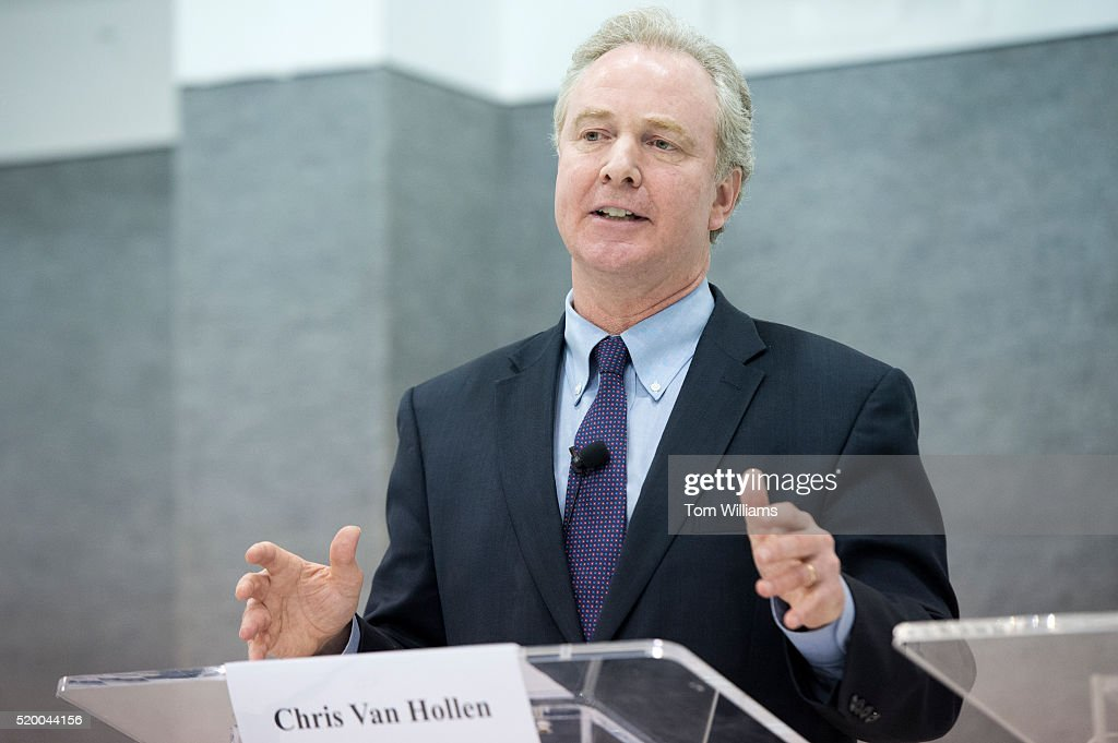 Rep. <a gi-track='captionPersonalityLinkClicked' href=/galleries/search?phrase=Chris+Van+Hollen&family=editorial&specificpeople=3964585 ng-click='$event.stopPropagation()'>Chris Van Hollen</a>, D-Md., speaks during a Maryland Senate candidate forum with Rep. Donna Edwards, D-Md., at Woodlawn Senior Center in Gwynn Oak, Md., April 9, 2016. The event was hosted by the Maryland Federation of National Active and Retired Federal Employees.