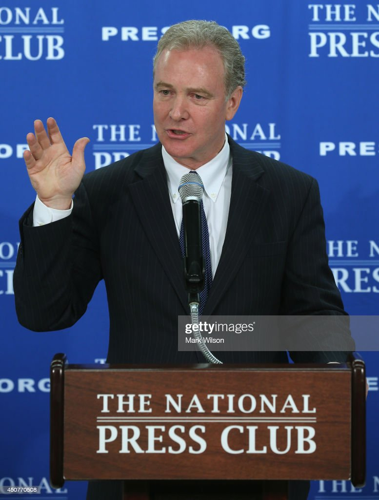 Rep. Chris Van Hollen (D-MD) (L) ranking member of the House Budget Committee talks about the federal budget during a news conference, June 17, 2014 in Washington, DC. Rep. Hollen talked federal budget priorities and methods to achieve them.