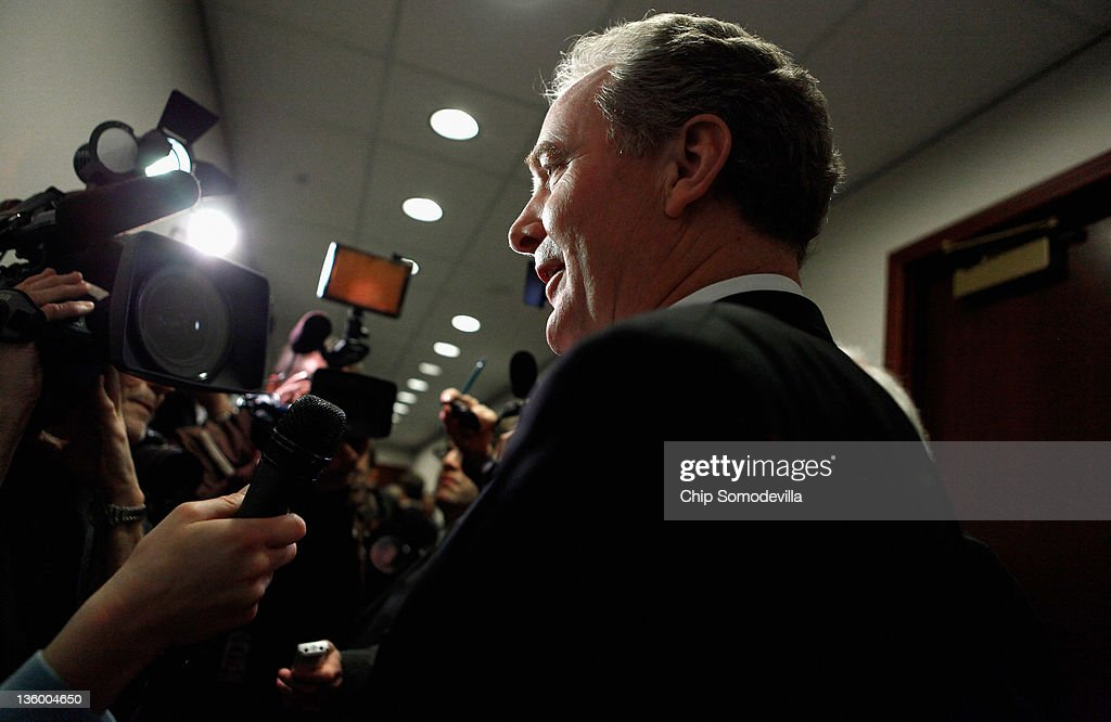 Rep. Chris Van Hollen (D-MD) talks with members of the news media before heading into a House Democratic caucus meeting at the U.S. Capitol December 19, 2011 in Washington, DC. The House is expected to reject legislation passed by the Senate last week extended the payroll tax cuts and unemployment benefits by two months instead of a year, which House Republicans are demanding.