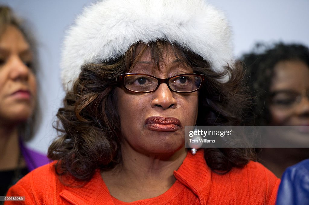 Rep. Corrine Brown, D-Fla., attends a news conference at the DNC where members of the Congressional Black Caucus PAC endorsed Hillary Clinton for president, February 11, 2016.