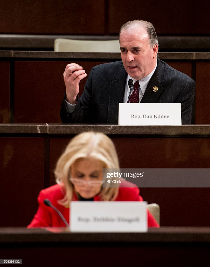 Rep. Dan Kildee, D-Mich., speaks as Rep. Debbie Dingell, D-Mich., listens during the House Democratic Steering & Policy Committee hearing on 'The Flint Water Crisis: Lessons for Protecting America's Children' on Wednesday, Feb. 10, 2016.