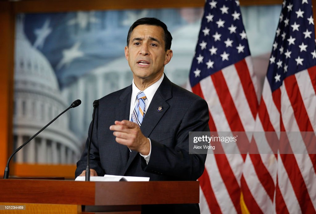 U.S. Rep. <a gi-track='captionPersonalityLinkClicked' href=/galleries/search?phrase=Darrell+Issa&family=editorial&specificpeople=2263419 ng-click='$event.stopPropagation()'>Darrell Issa</a> (R-CA) speaks to the media during a news conference May 28, 2010 on Capitol Hill in Washington, DC. Issa spoke on the allegation about the job offer by the White House to Rep. Joe Sestak (D-PA) in exchange his drop-out from the Democratic senate primary against Sen. Arlen Specter.