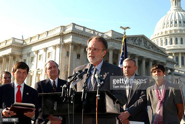 Rep Dave Bonior DMich speals at a press conference in support of American workers who are unemployed due to lay offs as a result of the attacks on...