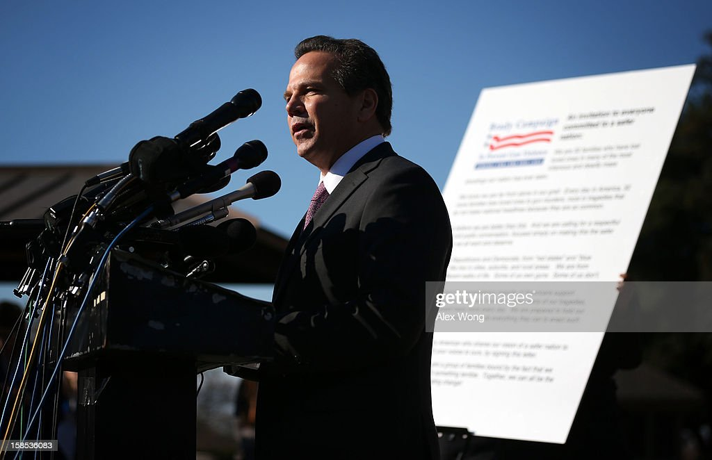 U.S. Rep. David Cicilline (D-RI) speaks during a news conference at the House Triangle on Capitol Hill December 18, 2012 in Washington, DC. U.S. Rep. Cicilline held a news conference with the Brady Campaign to discuss gun violence.