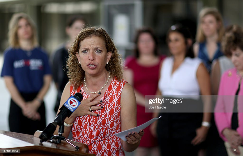 Rep. <a gi-track='captionPersonalityLinkClicked' href=/galleries/search?phrase=Debbie+Wasserman+Schultz&family=editorial&specificpeople=2528330 ng-click='$event.stopPropagation()'>Debbie Wasserman Schultz</a> (D-FL) speaks to the media as she is joined by local lawmakers and womens health advocates to call for Florida Governor Rick Scotts veto of a recently passed measure that they feel severely restricts access to safe and legal abortions on April 27, 2015 in Fort Lauderdale, Florida. The Florida state legislators have passed a measure which requires a woman to wait 24 hours and make two separate trips before she is able to obtain an abortion.