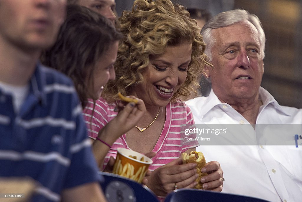 Rep. Debbie Wasserman-Schultz, D-Fla., and House Minority Whip Steny Hoyer, D-Md., take in the 51st Annual the CQ Roll Call Congressional Baseball Game held at Nationals Park. The Democrats prevailed over the Republicans 18-5.