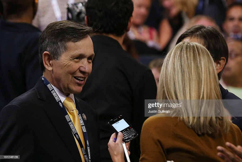S Rep Dennis Kucinich gives an interview during day one of the Democratic National Convention at Time Warner Cable Arena on September 4 2012 in...
