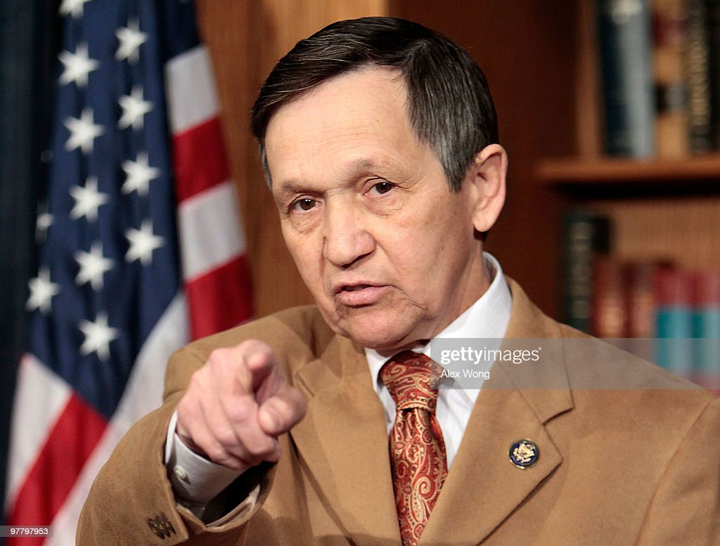 S Rep Dennis Kucinich speaks during a news conference to announce his vote on the health care reform legislation March 17 2010 on Capitol Hill in...