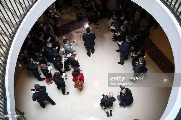Rep Devin Nunes chairman of the United States House Permanent Select Committee on Intelligence speaks to members of the press on February 27 2017 in...
