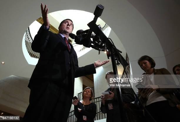 Rep Devin Nunes the chairman of the House Permanent Select Committee on Intelligence answer questions at the US Capitol during a press conference...
