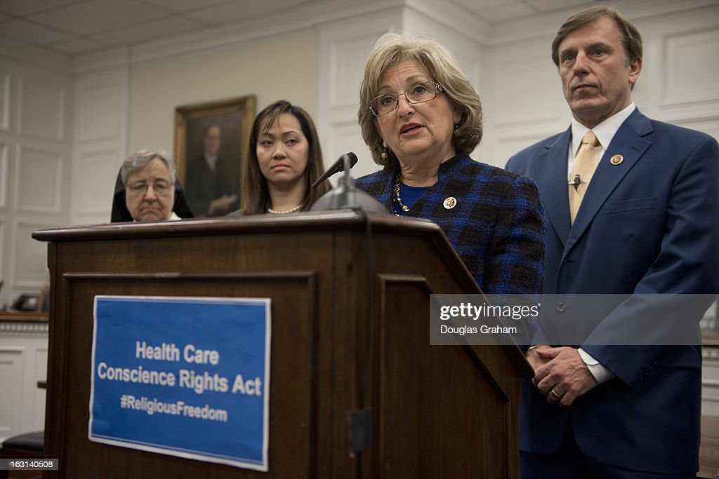 Rep. Diane Black, R-Tenn. and John Rep. Fleming, R-La., during a news conference to introduce the 'Religious Freedom Bill,' which would 'stop the Obama administration's assault on pro-life religious freedom via the HHS (Health and Human Services) mandate' and exempt 'medical professionals who refuse to be involved with the performance of abortions.'