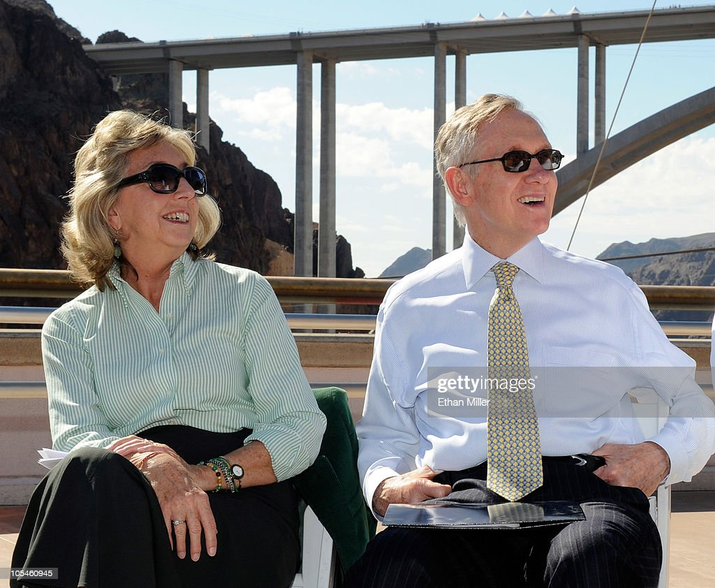 U.S. Rep. Dina Titus (D-NV) (L) and U.S. Senate Majority Leader <a gi-track='captionPersonalityLinkClicked' href=/galleries/search?phrase=Harry+Reid+-+Politician&family=editorial&specificpeople=203136 ng-click='$event.stopPropagation()'>Harry Reid</a> (D-NV) attend the dedication of the Mike O'Callaghan-Pat Tillman Memorial Bridge part of the Hoover Dam Bypass Project October 14, 2010 in the Lake Mead National Recreation Area, Nevada. The 1,900-foot-long structure sits 890 feet above the Colorado River, about a quarter of a mile downstream from the Hoover Dam. The USD 240 million project to relieve vehicle traffic on the Hoover Dam began in 2003, and is scheduled to be open to traffic by next week.