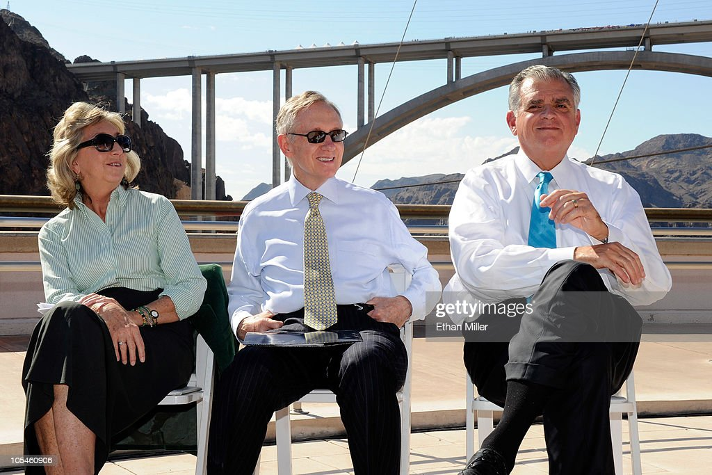 U.S. Rep. Dina Titus (D-NV), U.S. Senate Majority Leader Harry Reid (D-NV) and U.S. Transportation Secretary Ray LaHood attend the dedication of the Mike O'Callaghan-Pat Tillman Memorial Bridge part of the Hoover Dam Bypass Project October 14, 2010 in the Lake Mead National Recreation Area, Nevada. The 1,900-foot-long structure sits 890 feet above the Colorado River, about a quarter of a mile downstream from the Hoover Dam. The USD 240 million project to relieve vehicle traffic on the Hoover Dam began in 2003, and is scheduled to be open to traffic by next week.