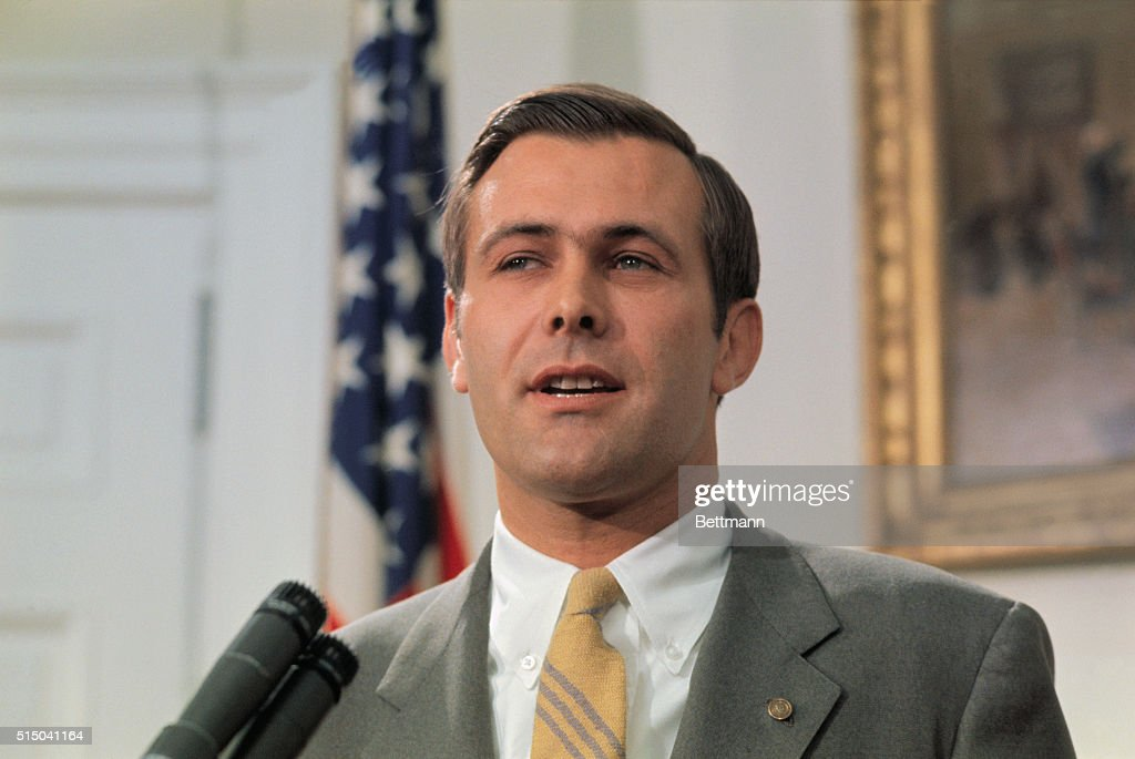 Rep. Donald Rumsfeld of Illinois speaks to reporters at the White House, 4/21, after it was announced that he was President Nixon's choice for nomination as Director of the Office of Economic Opportunity.