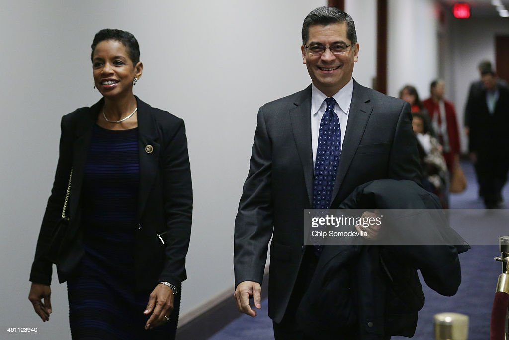 Rep. Donna Edwards (D-MD) (L) and Rep. <a gi-track='captionPersonalityLinkClicked' href=/galleries/search?phrase=Xavier+Becerra&family=editorial&specificpeople=2369133 ng-click='$event.stopPropagation()'>Xavier Becerra</a> (D-CA) arrive for the first House Democratic caucus meeting of the 114th Congress in the U.S. Capitol Visitors Center January 7, 2015 in Washington, DC. With Republicans in control of both the House of Representatives and the Senate, House Democrats will be working with Senate Minority Leader Harry Reid (D-NV) to oppose legislation to approve the Keystone XL Pipeline and other GOP agenda items.