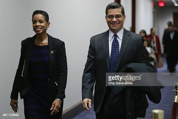 Rep Donna Edwards and Rep Xavier Becerra arrive for the first House Democratic caucus meeting of the 114th Congress in the US Capitol Visitors Center...
