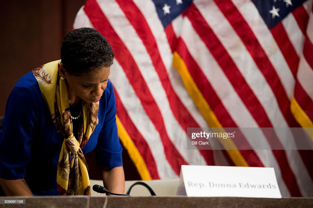 Rep. Donna Edwards, D-Md., takes her seat for the House Democratic Steering & Policy Committee hearing on 'The Flint Water Crisis: Lessons for Protecting America's Children' on Wednesday, Feb. 10, 2016.
