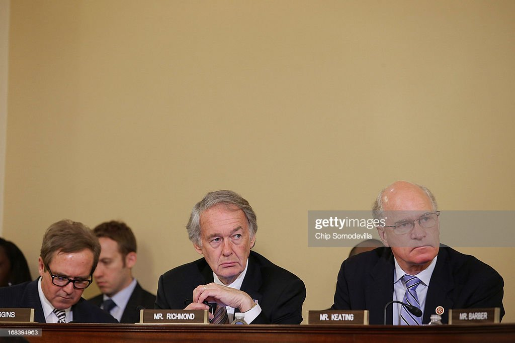 U.S. Rep. <a gi-track='captionPersonalityLinkClicked' href=/galleries/search?phrase=Edward+Markey&family=editorial&specificpeople=630856 ng-click='$event.stopPropagation()'>Edward Markey</a> (D-MA) (C), who was allowed to join members of the House Homeland Security Committee, with U.S. Rep. Brian Higgins (D-NY) (L) and U.S. Rep. William Keating (D-MA), during a hearing about the Boston Marathon bombings on Capitol Hill May 9, 2013 in Washington, DC. Witnesses told the committee that, although federal and local law enforcement handled the bombing and subsequent investigation and capture of a suspect, better counter-terrorism communication between agencies could have prevented the bombing.