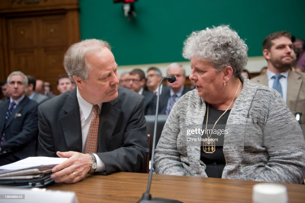 Rep. Edward Whitfield, R-Ky., speaks with Joyce Lovelace, the wife of a meningitis victim, before testimony at a House Energy and Commerce Oversight subcommittee hearing on 'The Fungal Meningitis Outbreak: Could It Have Been Prevented?'