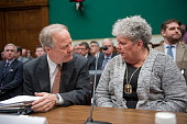 Rep Edward Whitfield RKy speaks with Joyce Lovelace the wife of a meningitis victim before testimony at a House Energy and Commerce Oversight...