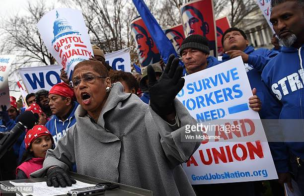 Rep Eleanor Holmes Norton speaks at a protest held by striking government contract workers on the east lawn of the US Capitol November 13 2014 in...
