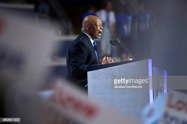 Rep Elijah Cummings delivers a speech on the first day of the Democratic National Convention at the Wells Fargo Center July 25 2016 in Philadelphia...