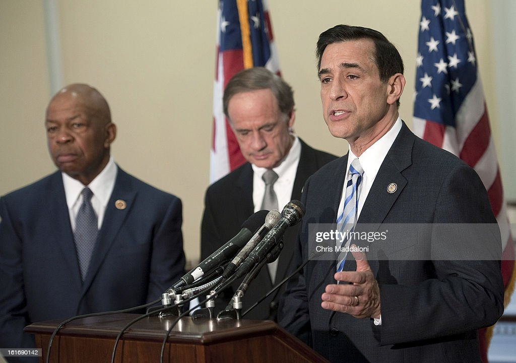 Rep. Elijah Cummings, D-Md.; Sen. Thomas Carper, D-Del.; and House Oversight and Government Reform Chairman Darrell Issa, R-Calif., speak at a press conference to unveil the GAO's biennial list of entities and programs identified as 'high risk' for waste, fraud, abuse or mismanagement.