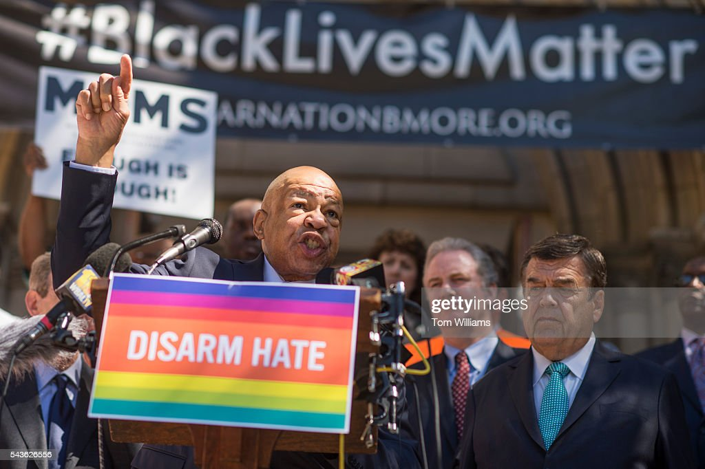 Rep. Elijah Cummings, D-Md., speaks during a rally with lawmakers and gun violence victims to call for action on gun safety measures on the steps of the Cathedral of the Incarnation in Baltimore, Md., June 29, 2016. Reps. Chris Van Hollen, D-Md., Dutch Ruppersberger, D-Md., and John Sarbanes, D-Md., also attended the event.