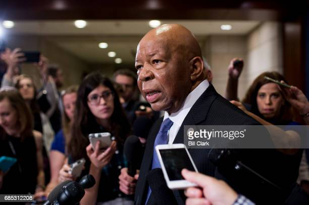 Rep Elijah Cummings DMd stops to speak in front of the cameras after Deputy Attorney General Rod Rosenstein's briefing of the House Representatives...