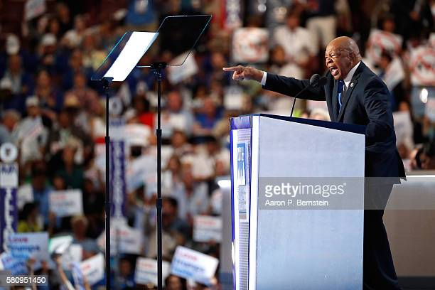 Rep Elijah Cummings gestures while delivering a speech on the first day of the Democratic National Convention at the Wells Fargo Center July 25 2016...