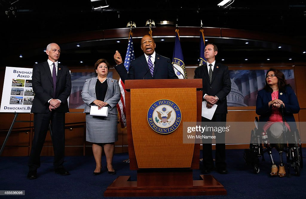 Rep. <a gi-track='captionPersonalityLinkClicked' href=/galleries/search?phrase=Elijah+Cummings&family=editorial&specificpeople=725911 ng-click='$event.stopPropagation()'>Elijah Cummings</a> (C) (D-MD) speaks during a press conference by Democratic members of the House Select Committee on Benghazi September 16, 2014 at the U.S. Capitol in Washington, DC. Tomorrow the select committee will hold its first hearing on the implementation of the Accountability Review Board recommendations. Also pictured (L-R) are Rep. Adam Smith (D-WA), Rep. Linda Sanchez (D-CA), Rep. Adam Schiff (L) (D-CA) and Rep. Tammy Duckworth (R) (D-IL).