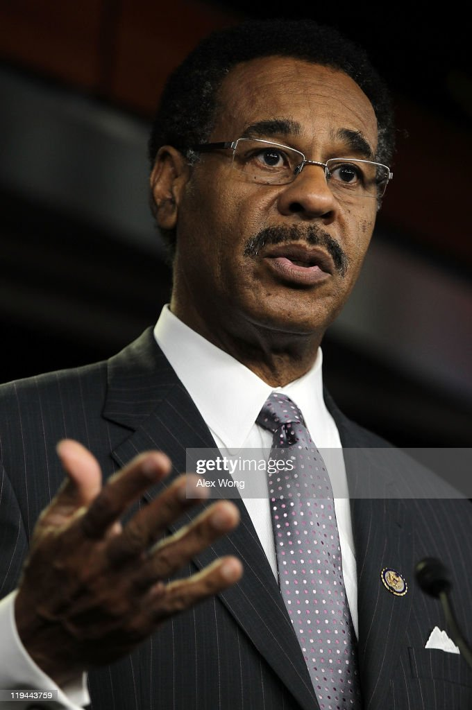 S. Rep. <a gi-track='captionPersonalityLinkClicked' href=/galleries/search?phrase=Emanuel+Cleaver&family=editorial&specificpeople=754349 ng-click='$event.stopPropagation()'>Emanuel Cleaver</a> (D-MO), Chair of the Congressional Black Caucus, speaks during a news conference July 20, 2011 on Capitol Hill in Washington, DC. Members of the Congressional Hispanic Caucus, the Congressional Black Caucus and the Congressional Asian Pacific American Caucus held the news conference to discuss the debt ceiling.