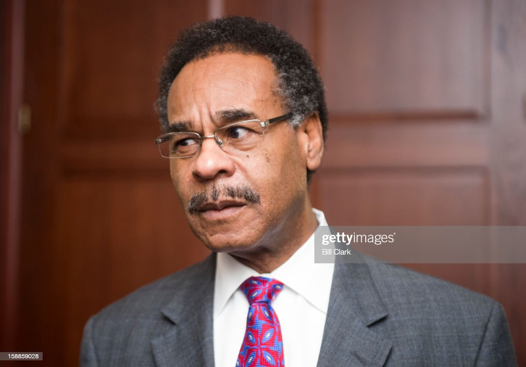 Rep. <a gi-track='captionPersonalityLinkClicked' href=/galleries/search?phrase=Emanuel+Cleaver&family=editorial&specificpeople=754349 ng-click='$event.stopPropagation()'>Emanuel Cleaver</a>, D-Mo., speaks with reporters outside of the House Democrats caucus meeting on the fiscal cliff in the Capitol Visitor Center on Tuesday, Jan. 1, 2013.