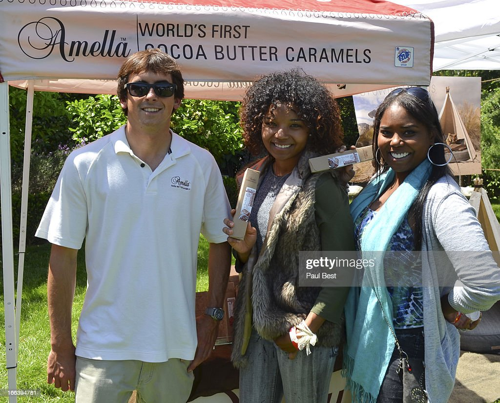 A rep for Amella Caramels, Cassilay Jackson and Shar Jackson attend 3rd Annual Rockn Rolla Movie Awards Eco Party on April 11, 2013 in Los Angeles, California.