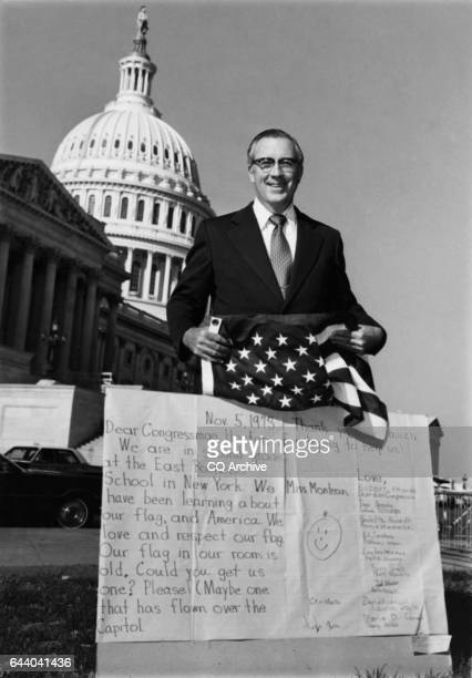 Rep Frank Horton RNY received a giant size letter from a class in Rochester He sent them back a flag 1984 'n