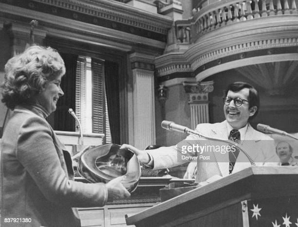 "Rep Frank Traylor Presented Gleaming Bedpan To Rep Pat Burrows ""Burrows Relief Act' was in recognition of Mrs Burrows' work on medical malpractice..."