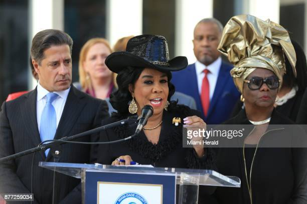 US Rep Frederica S Wilson speaks during a news conference to announce support for extending Temporary Protected Status on Tuesday Nov 21 2017 TPS a...