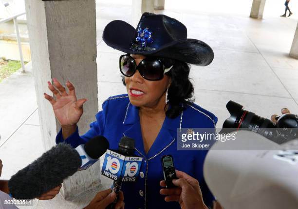 Rep Frederica Wilson speaks about the death of Sgt La David Johnson before attending a Congressional field hearing on nursing home preparedness and...