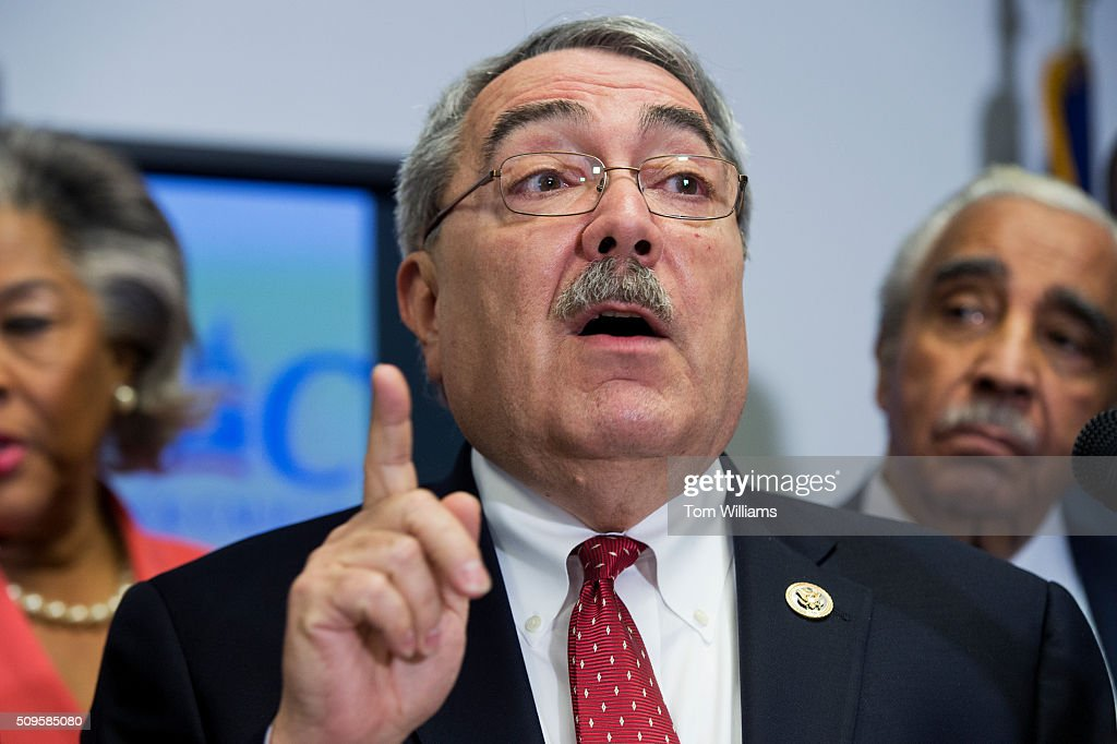 Rep. G.K. Butterfield, D-N.C., chairman of the Congressional Black Caucus, conducts a news conference at the DNC where members of the CBC PAC endorsed Hillary Clinton for president, February 11, 2016.