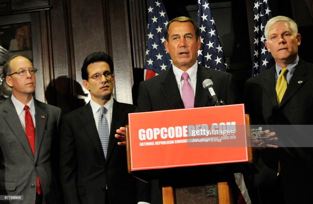 US Rep Greg Walden House Minority Whip Rep Eric Cantor House Minority Leader Rep John Boehner and Rep Pete Sessions hold a news conference to unveil...