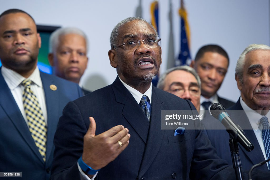 Rep. Gregory Meeks, D-N.Y., chairman of the Congressional Black Caucus PAC, conducts a news conference at the DNC where members of the CBC PAC endorsed Hillary Clinton for president, February 11, 2016. Also appearing from left, are Reps. Marc Veasey, D-Texas, Hank Johnson, D-Ga., G.K. Butterfield, D-N.C., chairman of the CBC, Cedric Richmond, D-La., and Charlie Rangel, D-N.Y.