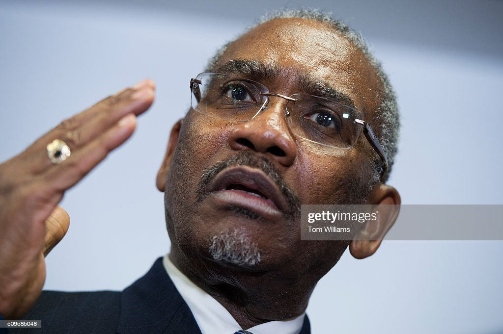 Rep. Gregory Meeks, D-N.Y., chairman of the Congressional Black Caucus PAC, conducts a news conference at the DNC where members of the CBC PAC endorsed Hillary Clinton for president, February 11, 2016.