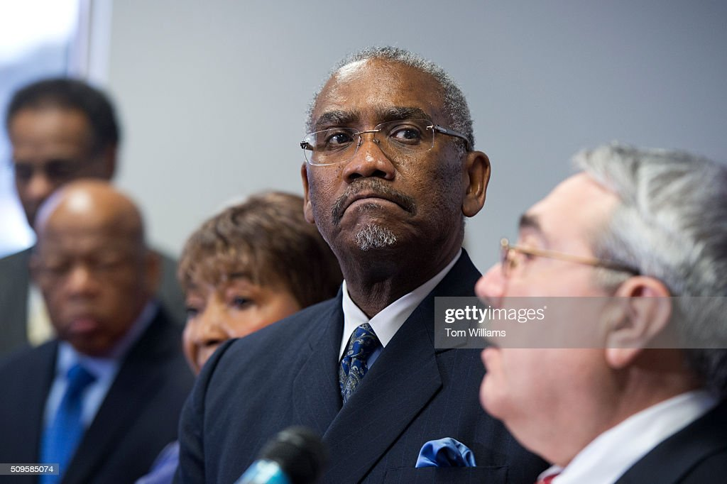 Rep. Gregory Meeks, D-N.Y., chairman of the Congressional Black Caucus PAC, attends a news conference at the DNC where members of the CBC PAC endorsed Hillary Clinton for president, February 11, 2016. Also appearing from left, are Reps. Emanuel Cleaver, D-Mo., John Lewis, D-Ga., Eddie Bernice Johnson, D-Texas, and G.K. Butterfield, D-N.C., right, chairman of the CBC.