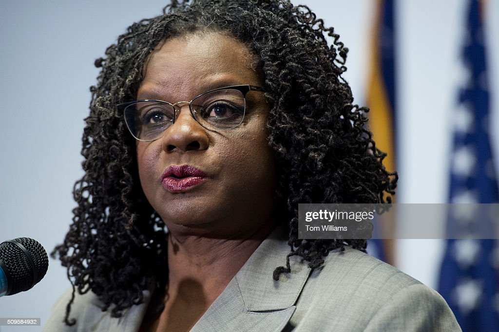 Rep. Gwen Moore, D-Wisc., conducts a news conference at the DNC where members of the Congressional Black Caucus PAC endorsed Hillary Clinton for president, February 11, 2016.