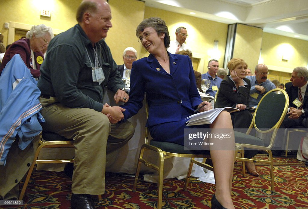 Rep Heather Wilson RNM has a word with her husband Jay Hone at the state republican convention at the Marriott hotel in Albuquerque NM