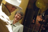 Rep Heather Wilson RNM talks with a supporter during an ice cream reception the day prior to the state republican convention