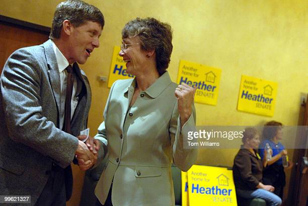 Rep Heather Wilson RNM talks with Chad Twitchell at an ice cream reception the day prior to the state republican convention